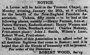 New England Freedom Association - Advertisement in the Liberator, January 17, 1845, for a New England Freedom Association fundraiser