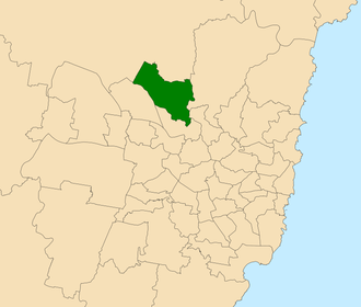 Electoral district of Castle Hill - Location within Sydney