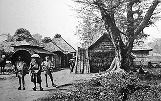 Namamugi Incident - Entrance to the village of Namamugi, circa 1862