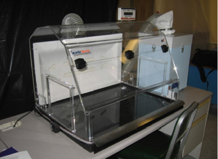 A nanomaterial containment hood, an example of an engineering control used to protect workers handling them on a regular basis. Nano containment hood.PNG