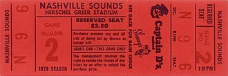 Nashville Sounds - A ticket for the Sounds' first home game on April 26, 1978, against the Savannah Braves
