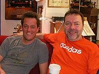 Nathan Barr and Alan Ball working on True Blood season 2.jpg