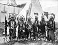 Native Americans in headdresses and ceremonial dress in front of tipi, Lewis and Clark Exposition, Portland, Oregon, 1905 (AL+CA 2190).jpg
