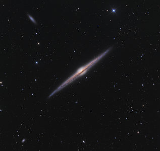 NGC 4565 is an edge-on spiral galaxy about 30 to 50 million light-years away in the constellation Coma Berenices.