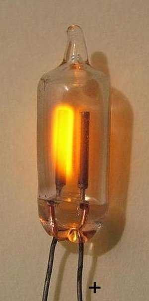 Cathode - Cold cathode (lefthand electrode) in neon lamp