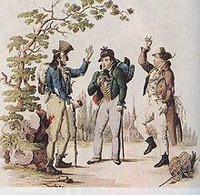 """Johann Nestroy mit Carl Carl und Wenzel Scholz in """"Der böse Geist Lumpazivagabundus"""" (1834) (Quelle: Wikimedia)"""