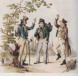 Johann Nestroy - Johann Nestroy with Carl Treumann and Wenzel Scholz in Der böse Geist Lumpazivagabundus (1833)