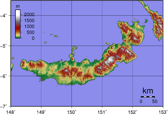 Baining Mountains - Topography of New Britain (island in Papua New Guinea).