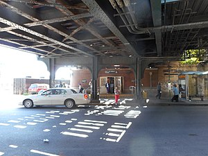 New Lots Avenue (BMT Canarsie Line) - The station entrance beneath the bridge for the tracks.