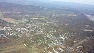 New Paltz, New York - Aerial view of New Paltz at an altitude of 3,500 feet MSL, looking west