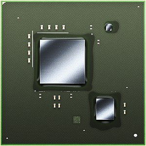 """Espresso (microprocessor) - An illustration of the Wii U MCM without heat spreader. The smaller chip, lower right, is the """"Espresso"""" CPU made by IBM. The other chips are the """"Latte"""" GPU (large chip) from AMD and an EEPROM chip (tiny) from Renesas."""