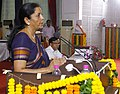 Nirmala Sitharaman addressing the gathering, on the occasion of felicitation of Cantonment Boards on their achievement of acquiring Open Defecation Free (ODF) certification, at Banaras Hindu University (BHU), Varanasi.jpg