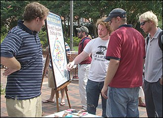 Advocates for Self-Government - Auburn University Libertarians holding an Operation Politically Homeless event, presenting a version of the Diamond Chart