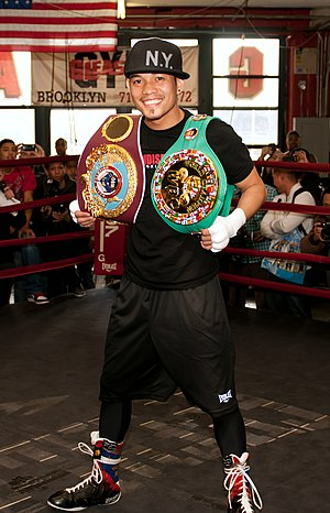 Nonito Donaire - Donaire with the WBO (brown) and WBC (green) bantamweight titles, 2011