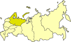Northern Economic Region on the map of Russia