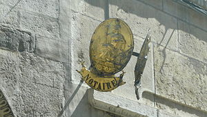 Français : Insigne notaire, France, Beaune