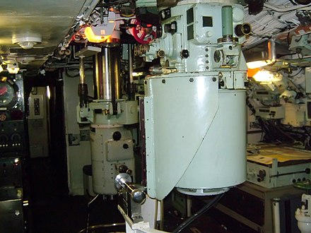 The larger search periscope, and the smaller, less detectable attack periscope on HMS Ocelot Ocelot-Periscopes.JPG