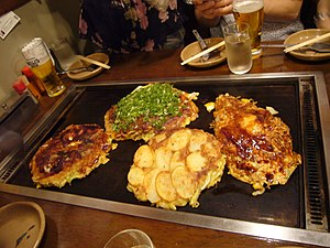 Pancake - Okonomiyaki, a Japanese savoury pancake containing a variety of ingredients