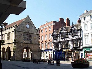 Woollen industry in Wales - Old Market Hall, Shrewsbury (left), where most Welsh cloth was traded on the second floor for many years