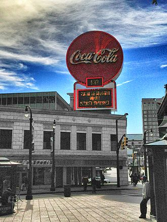 Five Points, Atlanta - Coca-Cola sign atop the Olympia Building at Five Points, looking south
