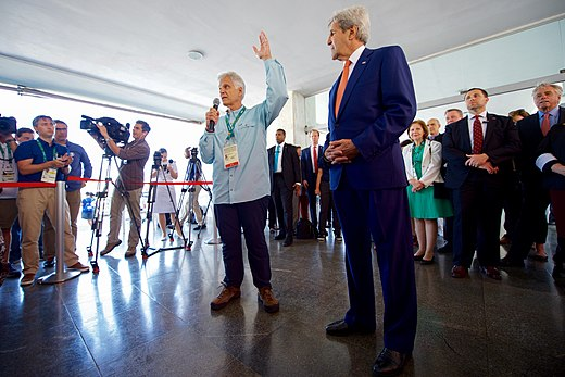 Olympic gold medalist Mark Spitz addresses members of Team USA as he and his fellow U.S. presidential delegation members including Secretary Kerry visit the Brazilian Naval Academy in Rio de Janeiro (28172684953).jpg