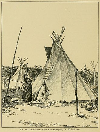 Omaha people - Omaha tipi. The Omaha earth lodge was substituted with a moveable tipi during hunts on the open plains.