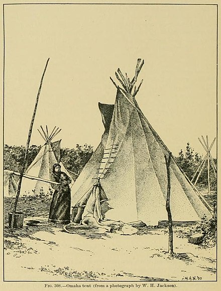 Omaha tipi. The Omaha earth lodge was substituted with a moveable tipi during hunts on the open plains. Omaha tipi.jpg
