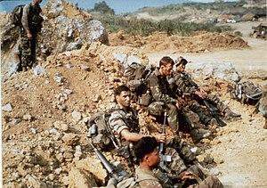 Company E, 52nd Infantry (LRP) (United States) - April 1968. Company E LRPs at LZ Stud awaiting Khe Sanh patrol. Sgt. Bob Whitten on right (KIA 5/8/68).