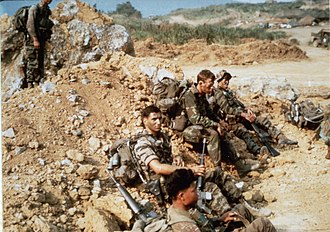 United States Army Rangers - April 7, 1968. Company E LRP team at LZ Stud awaiting Khe Sanh patrol