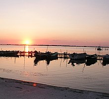 La laguna di Orbetello al tramonto