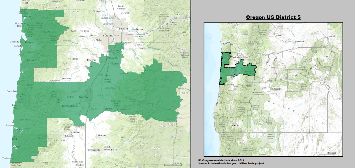 Oregons Th Congressional District Wikipedia - Us house districts oregon map
