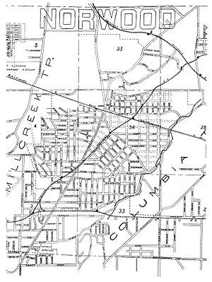 "Norwood, Ohio - Norwood, as it first appeared c. 1888 when the city was incorporated as a village. Prior to incorporation, ""Norwood"" was only a collection of loosely organized subdivisions (Norwood Heights, East Norwood, South Norwood, Elsmere, etc.). Much of the city at the time of this map had yet to be developed."