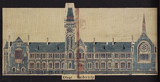 University of Otago Registry Building - Maxwell Bury's original design for the main elevation.