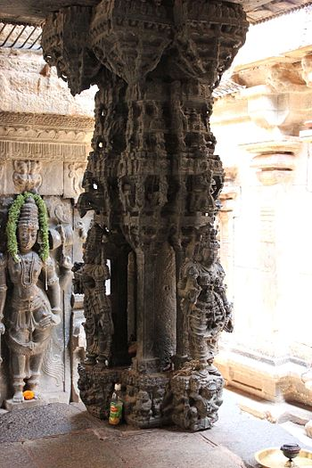 Ornate pillar in soap stone-a 13th century Hoysala contribution to the Bhoga Nandeeshwara temple complex 1.JPG
