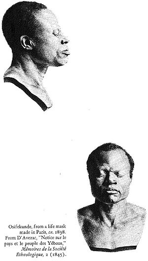Osifekunde - Life mask of Osifekunde commissioned by Pascal d'Avezac-Macaya around 1838
