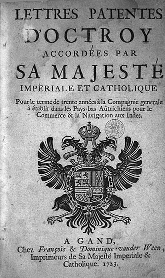 Ostend Company - Title page of the Company's 1722 foundation charter