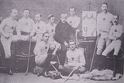 Ottawa Hockey Club, 1891Back Row, L to R: H. Kirby, A. Morel, C. Kirby, H.Y. Russell, F.M.S. Jenkins, W.C. Young, ?Front Row, L to R: R. Bradley, J. Kerr