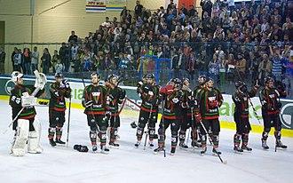 GKS Tychy (ice hockey) - GKS Tychy players during the 2013–14 Polska Hokej Liga final.