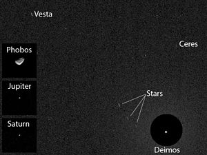 Asteroid - First asteroid image (Ceres and Vesta) from Mars – viewed by ''Curiosity'' (20 April 2014).