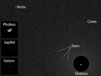 Asteroid - First asteroid image (Ceres and Vesta) from Mars – viewed by Curiosity (20 April 2014).