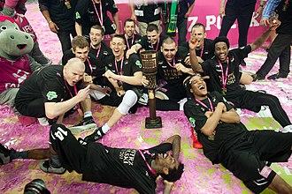 Turów Zgorzelec - Turów players celebrating after their first title