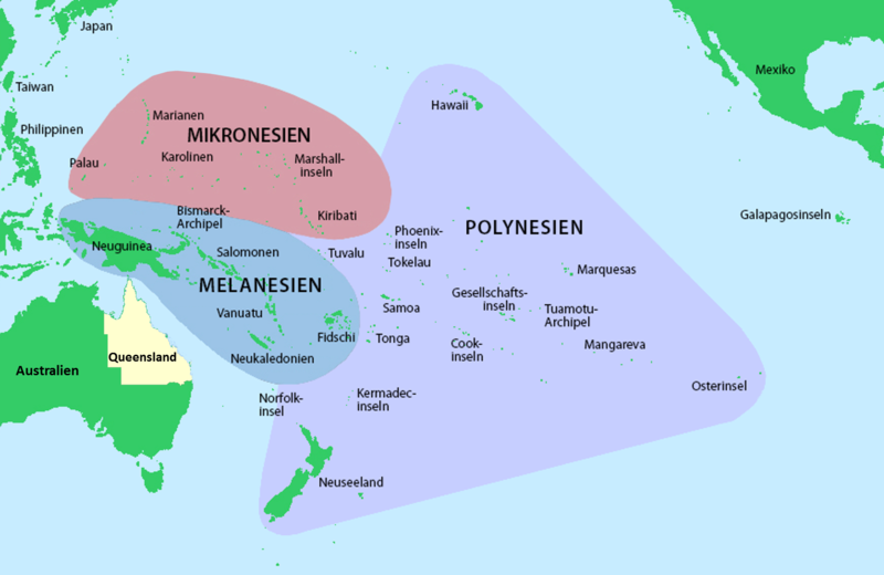 Lagekarte von Melanesien, Mikronesien und Polynesiendia.org/wikipedia/commons/thumb/2/2c/Pacific_Culture_Areas-de_incl._Queensland.png/640px-Pacific_Culture_Areas-de_incl._Queensland.png