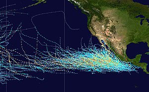 Pacific hurricane - Image: Pacific hurricane tracks 1980 2005