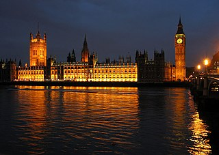 The image shows the grand Palace of Westminster at night