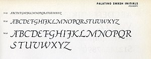 Palatino - The italic swash capitals of Palatino from an American metal type specimen sheet.