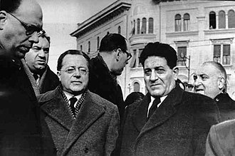 Italian General Confederation of Labour - Di Vittorio with Communist leader, Palmiro Togliatti in Modena, 1950.
