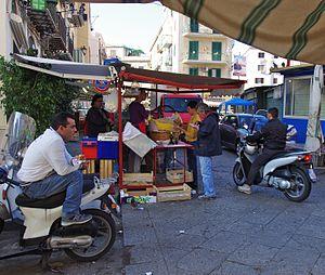 Frittula - Frittula served streetside in a Palermo market