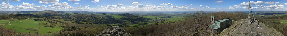 Panoramic view (360°) from Milseburg-Summit in the Rhön Mountains
