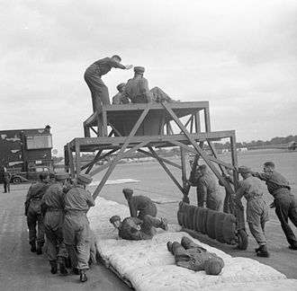 6th (Royal Welch) Parachute Battalion - Recruits of the 6th (Royal Welch) Parachute Battalion being taught how to drop through a moving aperture, August 1942.