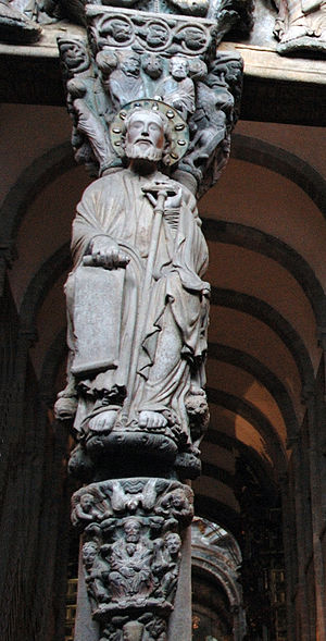 Santiago de Compostela Cathedral - Mullion with the figure of Santiago.